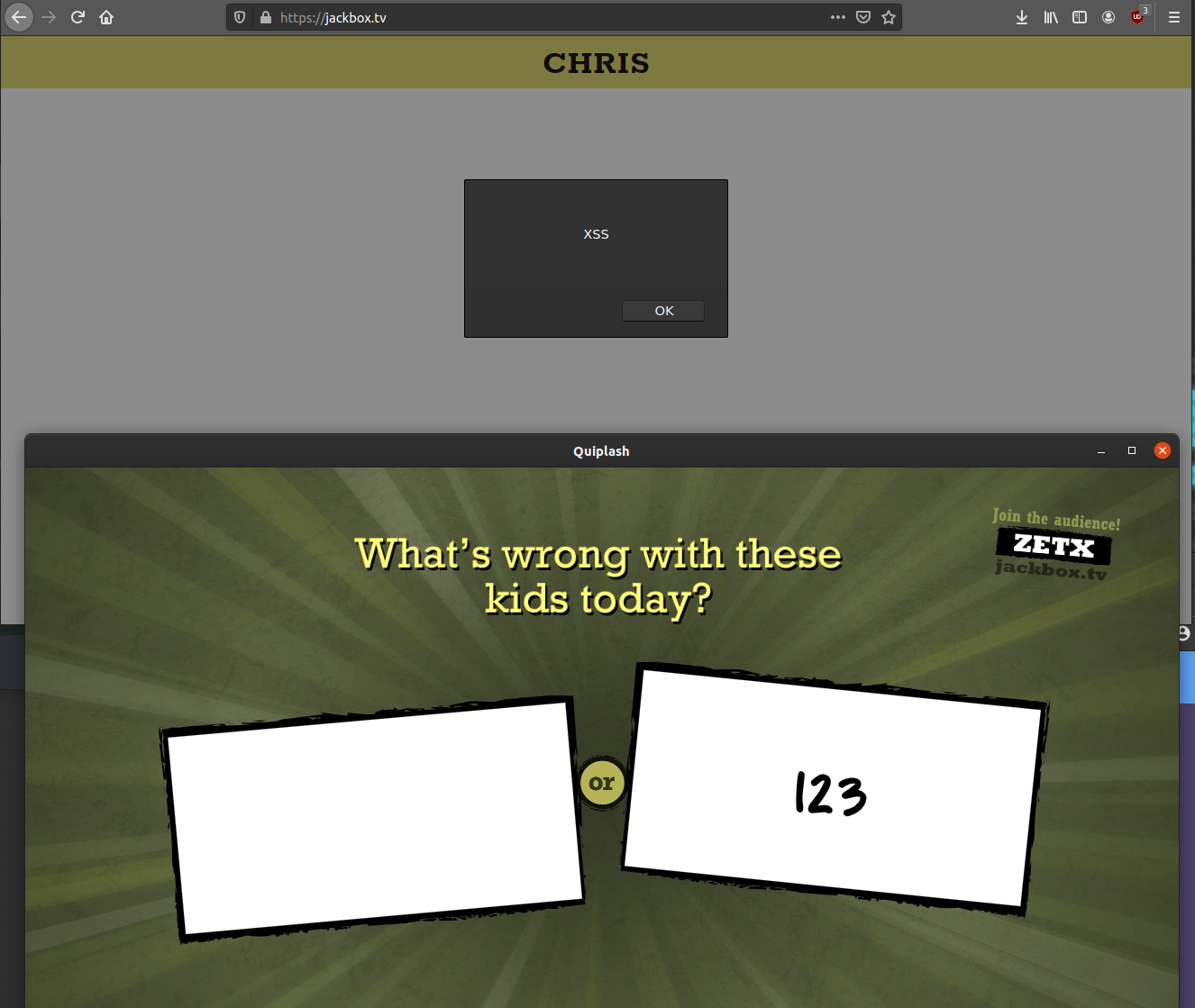 XSSLash - A Tale of Playing Quiplash at Work